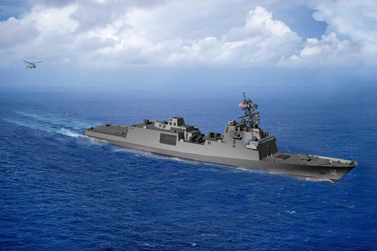 Rendering of the first-in-class guided missile frigate, FFG(X), that will be built by Boilermakers at Fincantieri Marinette Marine.
